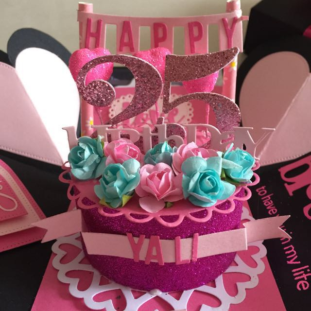 Explosion Box With Cake 4 Waterfall In Black Pink on Carousell