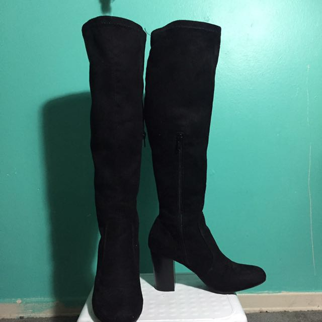 F21 suede long knee high boots