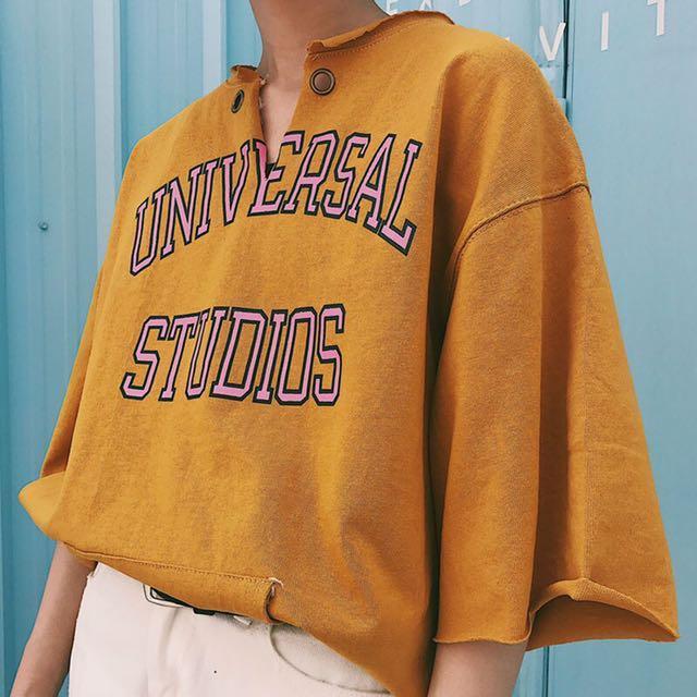降🔥Funkylook 黃色原宿風字母印花T恤