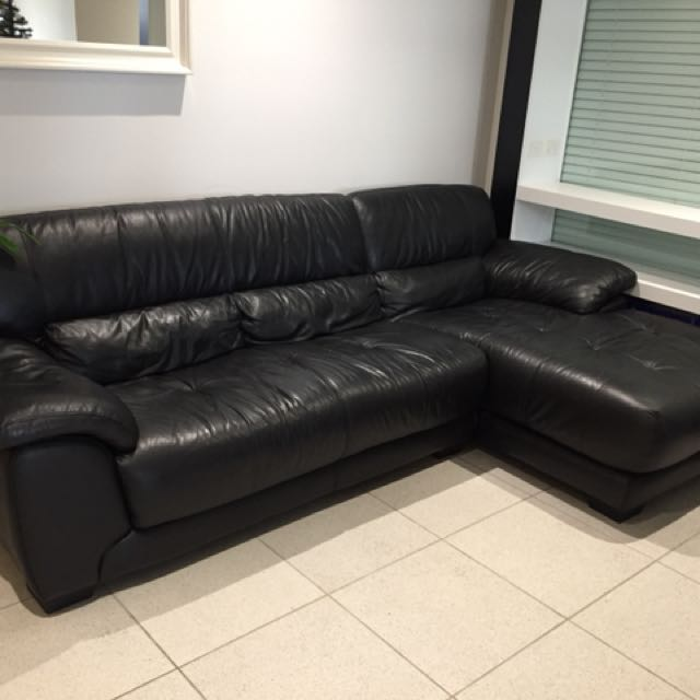 Genuine leather 3 seater sofa with extension