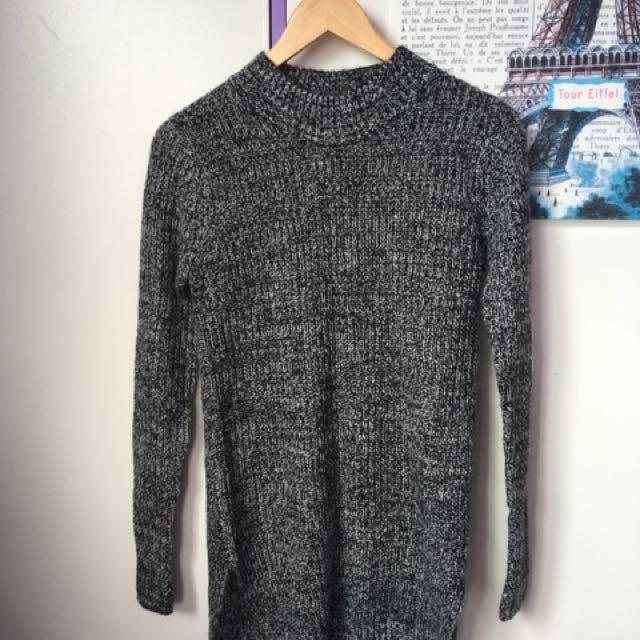 grey knit sweater dress
