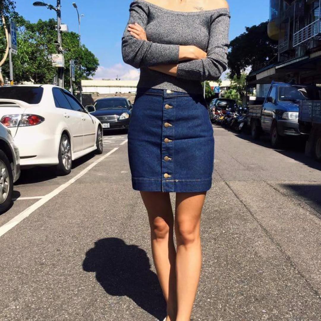 Hanna shop排釦牛仔裙