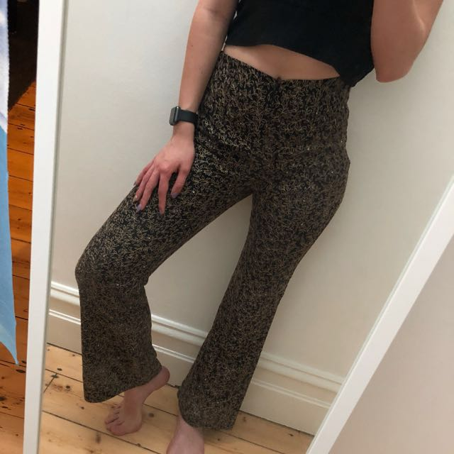 Hippie Flared Black Pants with Gold Lace and shawl