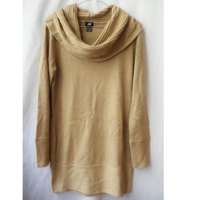 【H&M】全新 麻花鬆糕領長版毛衣洋裝(駝) 含運