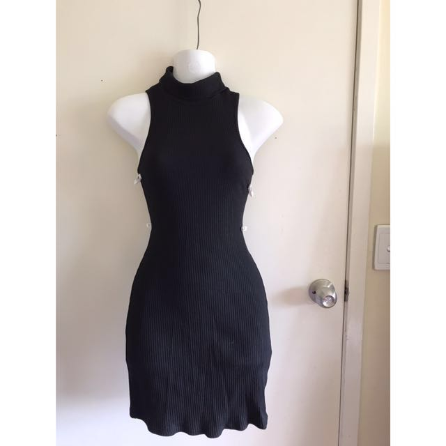Ice Fashion knit black bodycon dress size 8