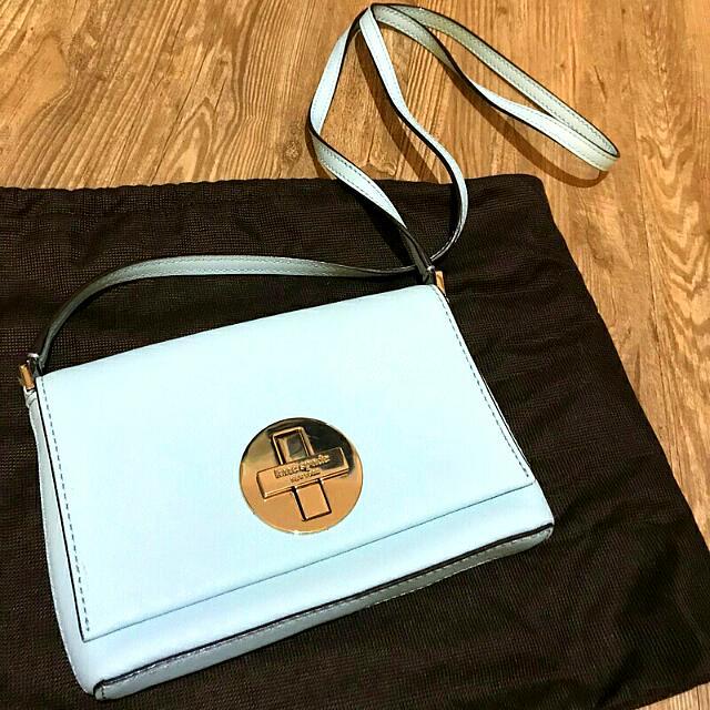 Kate Spade💙正品 超美Tiffany藍色~防刮牛皮十字鎖扣側背包 小包 隨身小包 斜背包