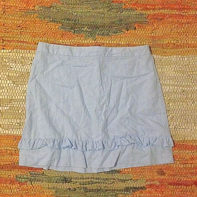 Linen mini skirt with frill