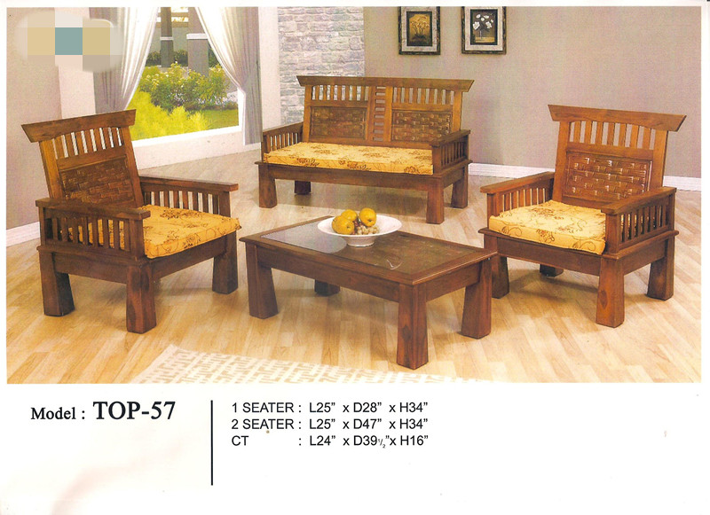 Low Price Installment Plan Wooden Sofa Set 1+1+2+TABLE Model - TOP57
