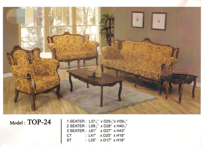 Low Price Installment Plan Wooden Sofa Set 1+2+3+TABLE Model - TOP24