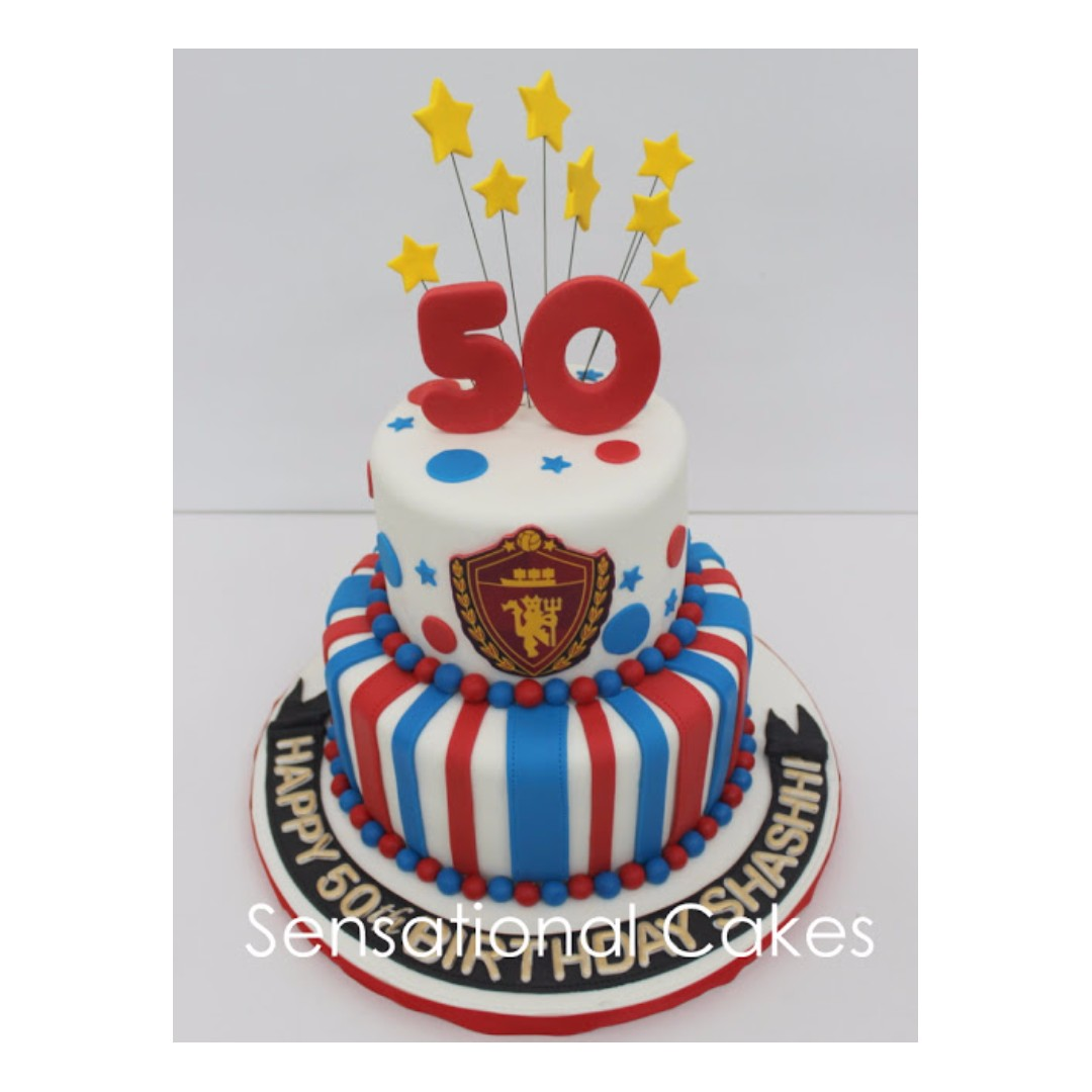 Manchester United Red Devil 50th Birthday 3D Cake Polka Dot And 2 Tier Food Drinks Baked Goods On Carousell