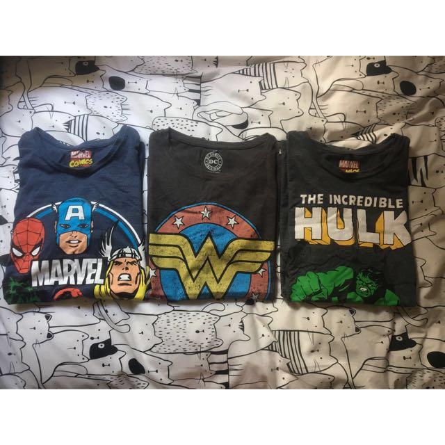Marvel/DC comics womans shirts bundle superhero