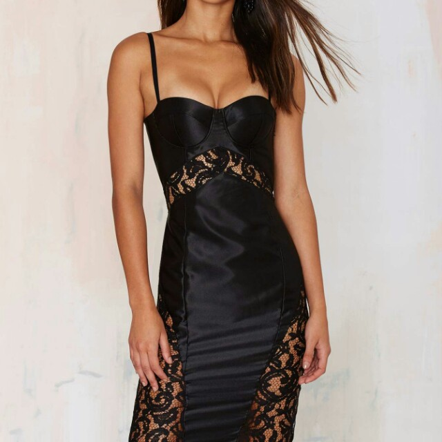 Misha Collection Classic sold out Vivien lace slip dress in black