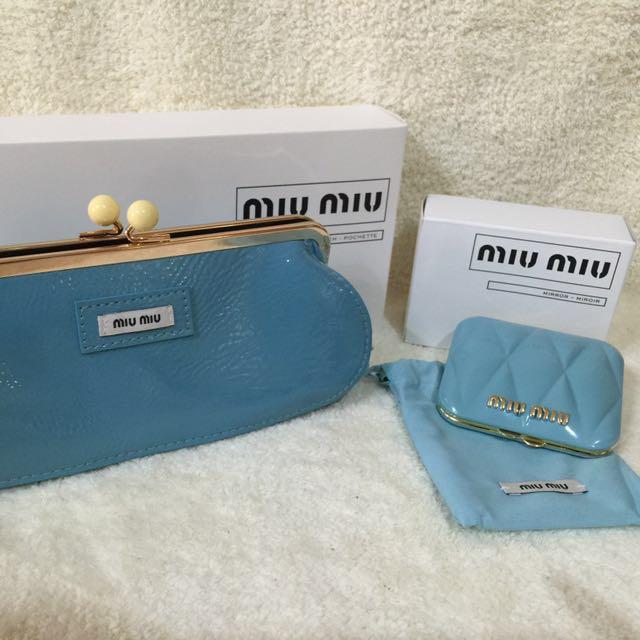 全新Miu miu限量春日派對手拿包+化妝鏡 隨身鏡