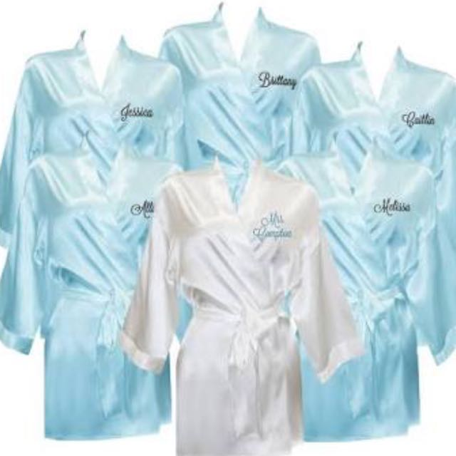 NEW - PERSONALISED SATIN ROBES - ALL SIZES, COLOURS AND YOUR EMBROIDERY CUSTOM MADE BY YOU