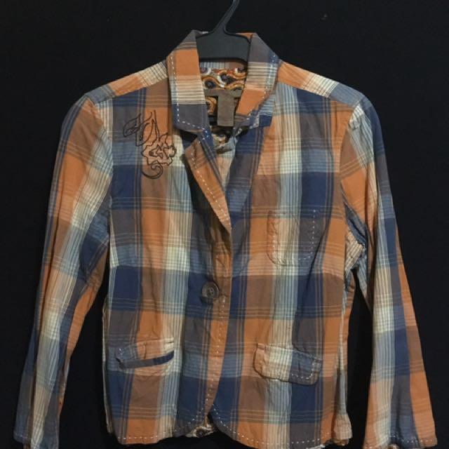 OLD NAVY Orange Checkered Bolero/ Blazer