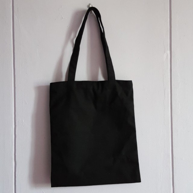 18a63d3726 Plain Black Canvas Tote Bag