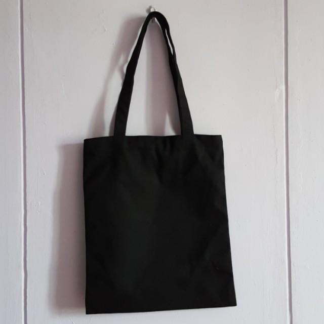 18a63d3726 Plain Black Canvas Tote Bag