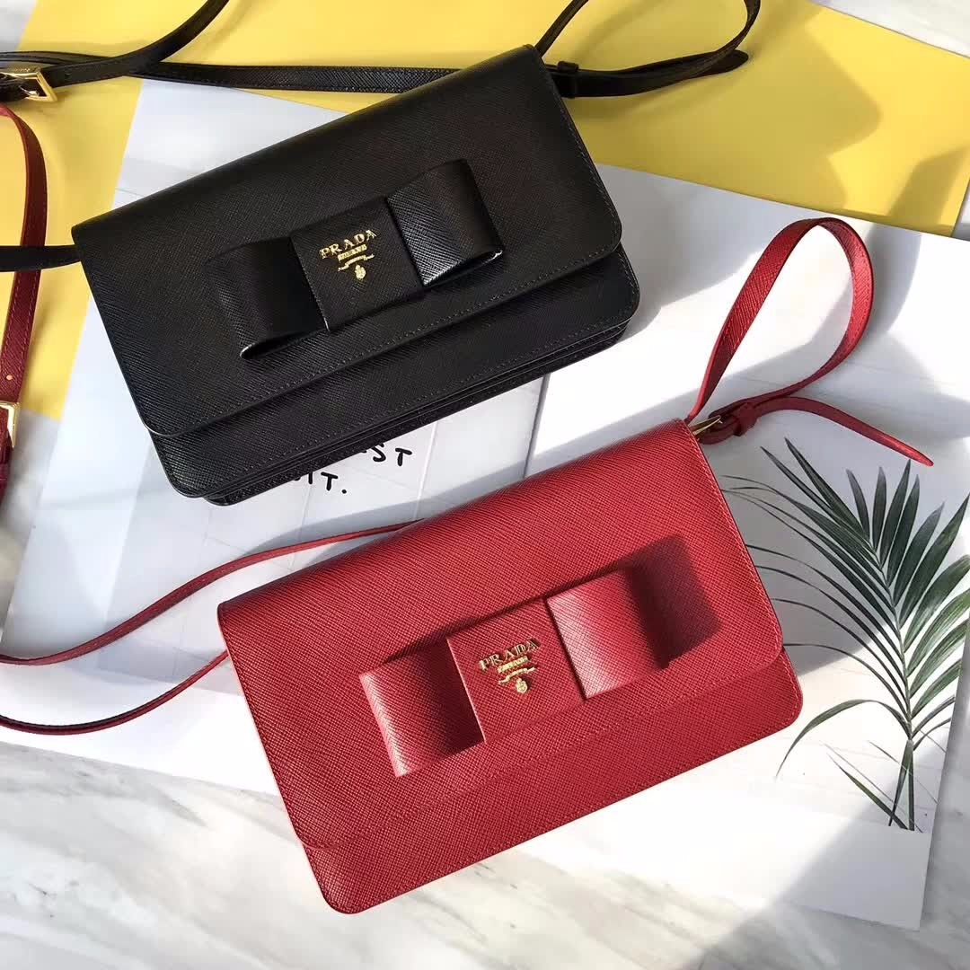 ff605b9d50ded3 Prada Saffiano Lux Bow Crossbody Bag, Luxury, Bags & Wallets on Carousell