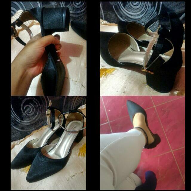 Sepatu Hitam Satin