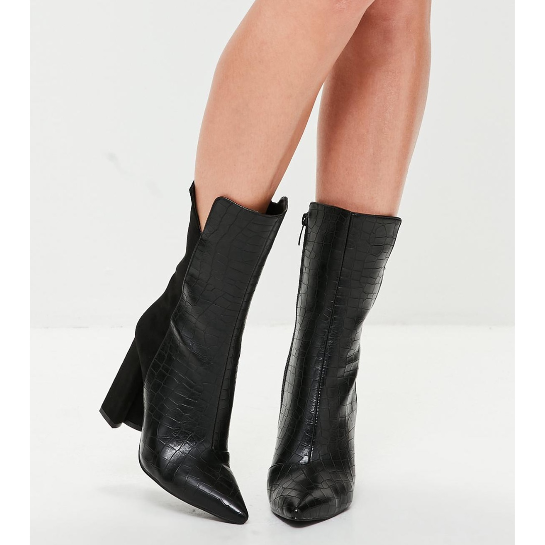Snake and Suede Black Ankle Boots