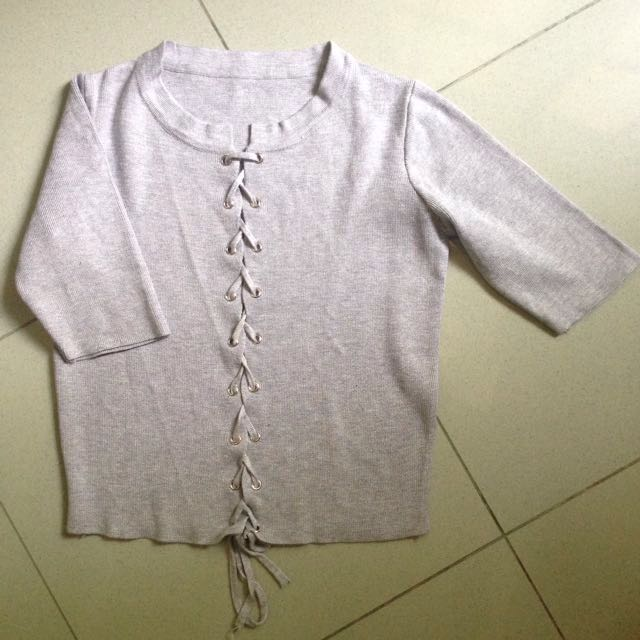 Tied Top Knit Grey