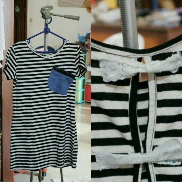 T-shirt/ Mini Dress Garis-Garis