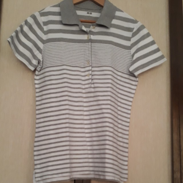 UniQlo Gray Stripes Polo Shirt (Women)