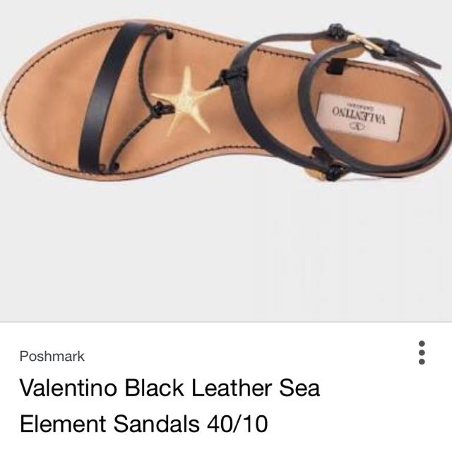 VALENTINO GARAVANI SEA ELEMENT BLACK FLAT SANDALS