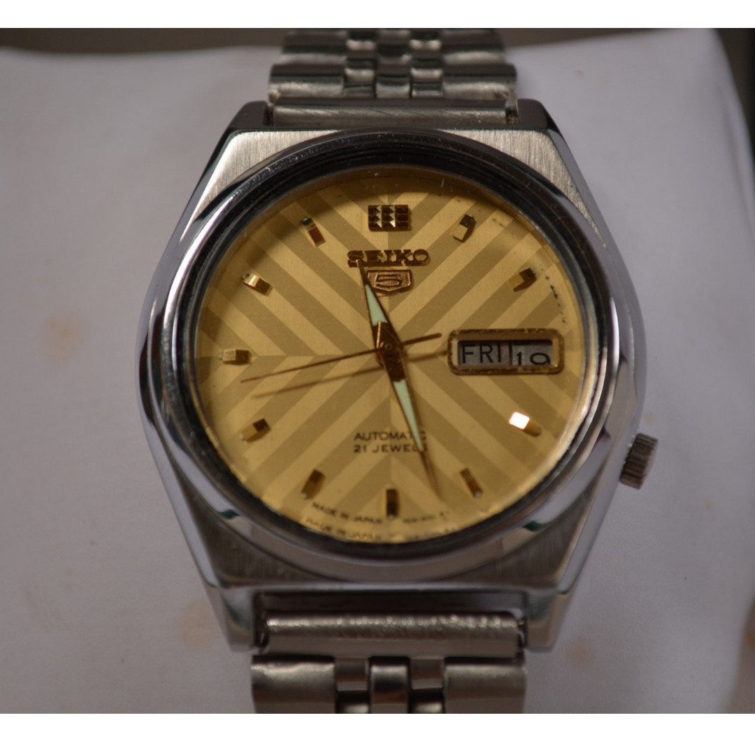 Vintage Seiko 5 Gold Dial 21 Jewels Automatic Watch Sale