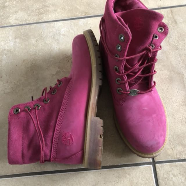 Women's pink Tims - worn once size 6.5