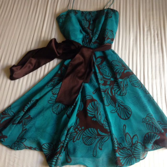 X Turquoise Printed Cocktail Dress