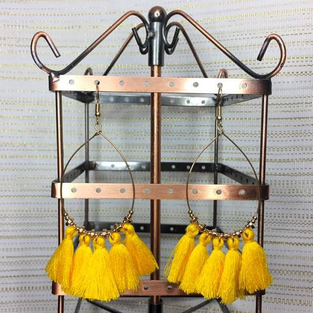 Yellow Hoops Tassel Earrings
