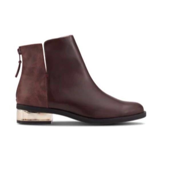 全新ZALORA金飾粗跟踝靴 咖啡 EU37 23.5