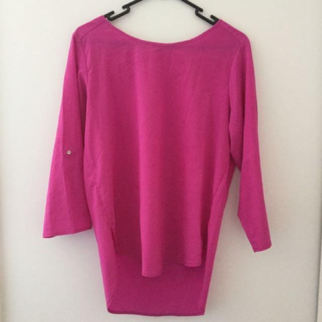 Zara basic pink 3/4 length sleeve shirt