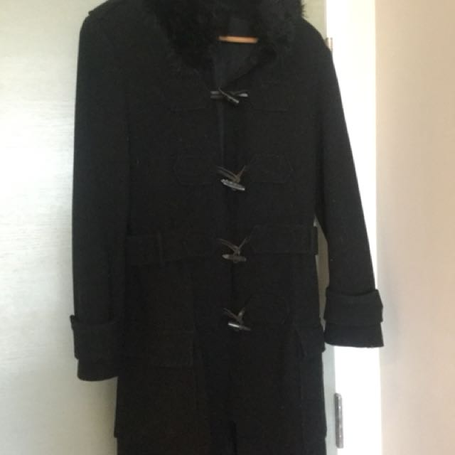 ZARA Black Wool Coat with Faux Fur & Pockets