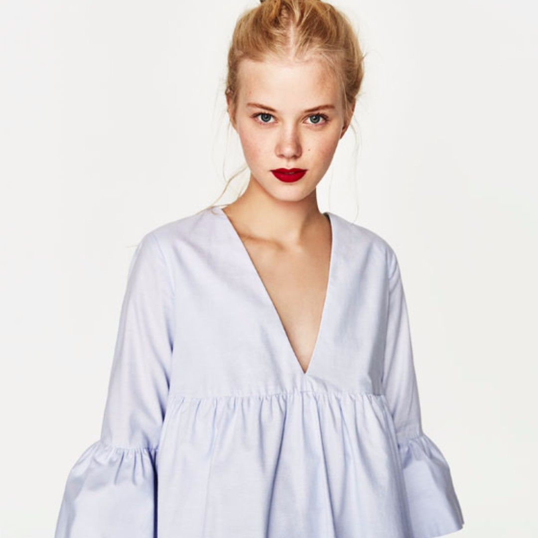 0355ee1a Zara Frilled Sleeve Blue Jumpsuit, Women's Fashion, Clothes, Rompers ...