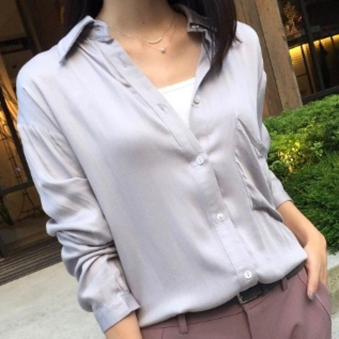 ZOEY'S正韓 絲滑質感簡約單口袋襯衫