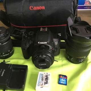 canon 700d + sigma 17-70mm + canon 50 mm + canon 18-55 mm+ trancend wifi sd card 16 gb + bag and sling
