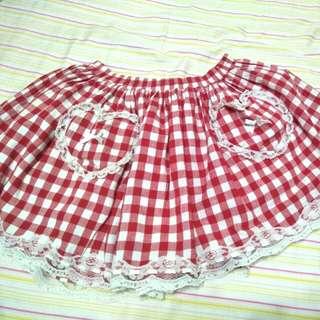🚚 紅色格子短裙