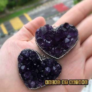Uruguay Amethyst heart shape pendant 爱心紫水晶