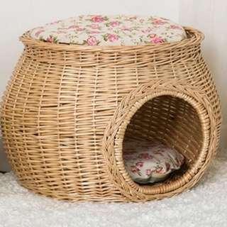 藤編織寵物睡窩加睡墊涼感涼蓆