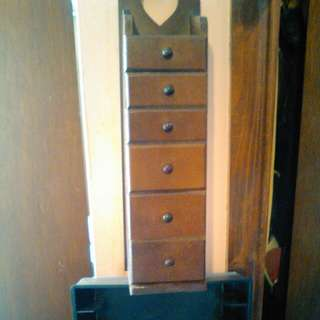 """Wooden jewerly storage drawers. 16"""" tall"""