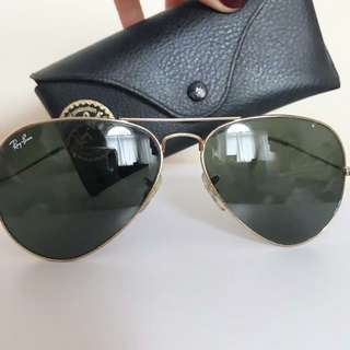 Ray Ban 58 Classic Aviator - Dark Green Gold Hardware