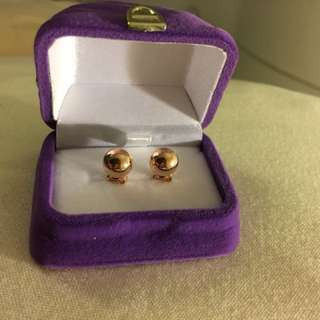 NEW Tiffany Style rose gold plated 925 sterling silver ball earrings