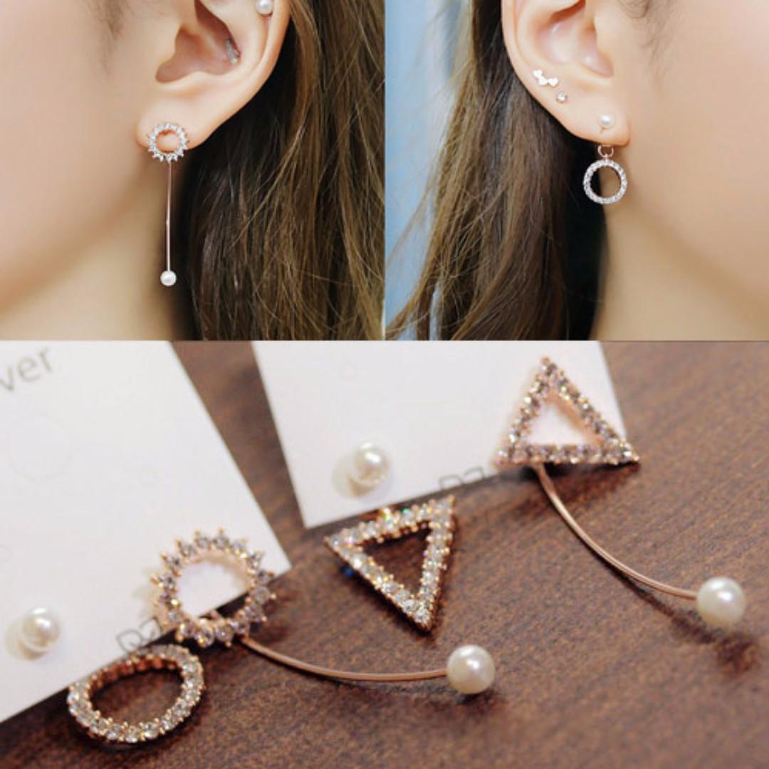╭✿蕾兒0509✿╮IB031-韓國直送耀眼姊妹不對稱鋯石珍珠耳環耳釘耳飾品