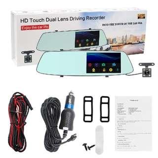 "5"" 1080P Car DVR Dual Lens touch Rearview Mirror Camera Dash Cam Recorder G-Sensor night Vision"