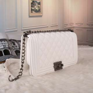 Chanel White Le Boy