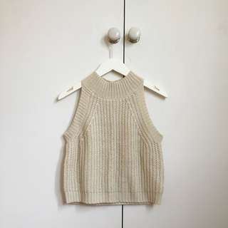 SWELL Cream Knit Turtleneck Crop Top XS-S