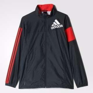 [尋寶趣]Adidas 男 黑 紅 休閒 防風 運動 風衣 外套 AY8926