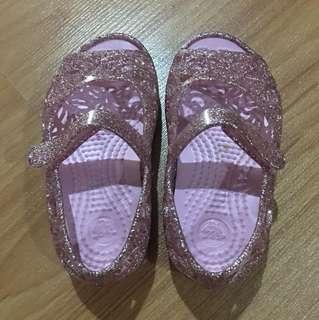 Pink Glitter Croc Sandals